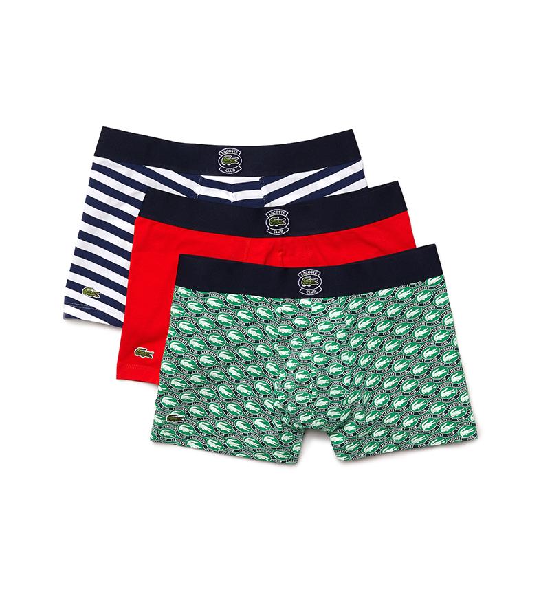 Comprar Lacoste Pacote de 3 Boxers Esticados de Algodão Calções verde, vermelho, azul