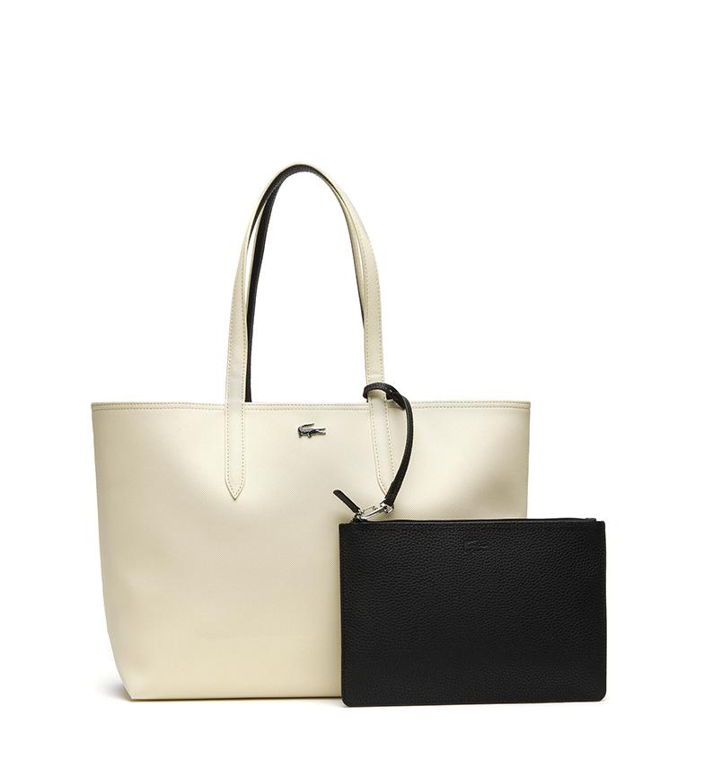 Comprar Lacoste Anna Bicolour bege reversível, saco nergo -35x30x14cm