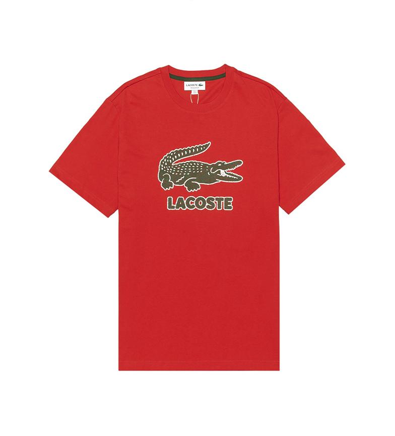 Comprar Lacoste Camiseta de Algodón con Cuello Redondo y Logo Craquelado rojo