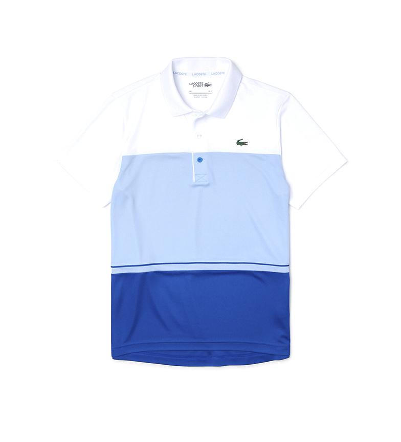 Lacoste Polo Sport Pique Color Block Respirável com Inscrição azul, branco