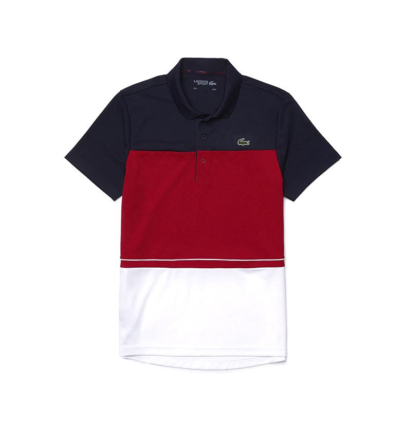 Lacoste Polo Sport de Piqué Color Block Transpirable con Inscripción rojo, marino, blanco