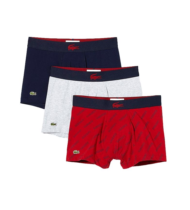 Comprar Lacoste Pack de 3 Boxers 5H1774 gris, marino, rojo