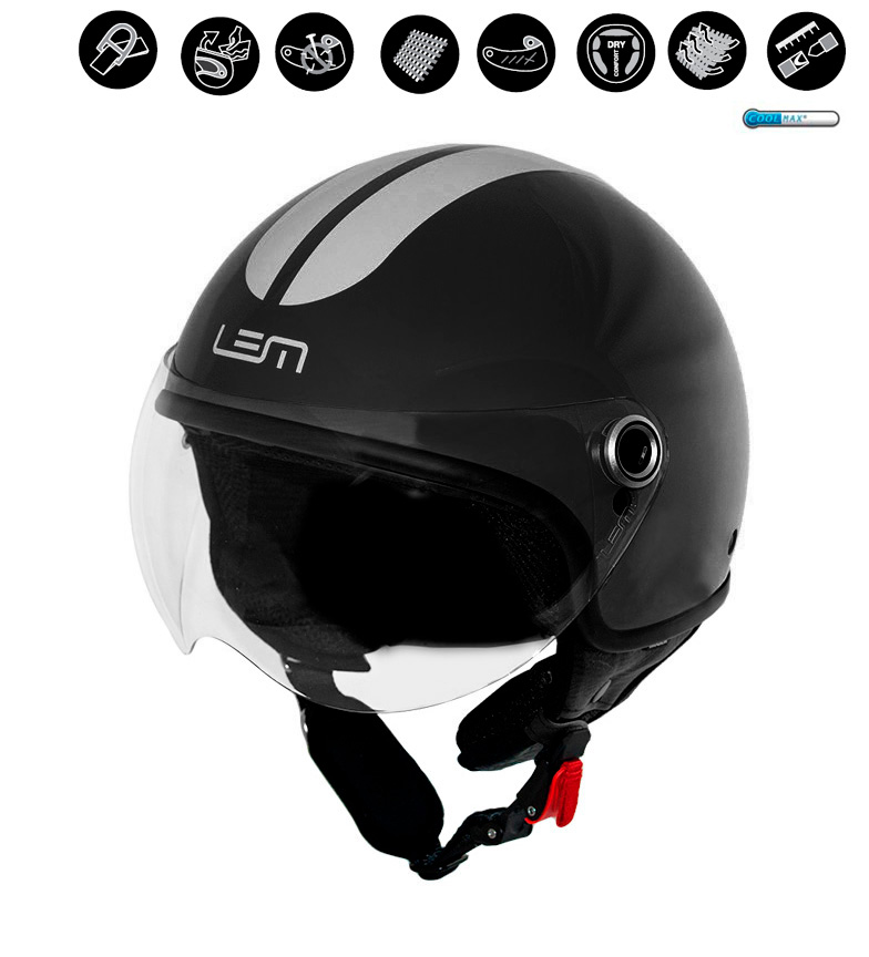 Comprar Lem Helmets Casco jet Luma Roger Go Fast negro, plata