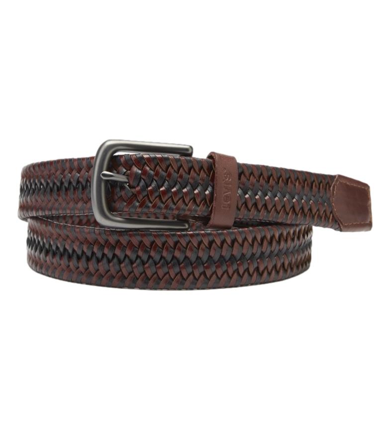 Levi's Cinturón de piel Woven Stretch marrón