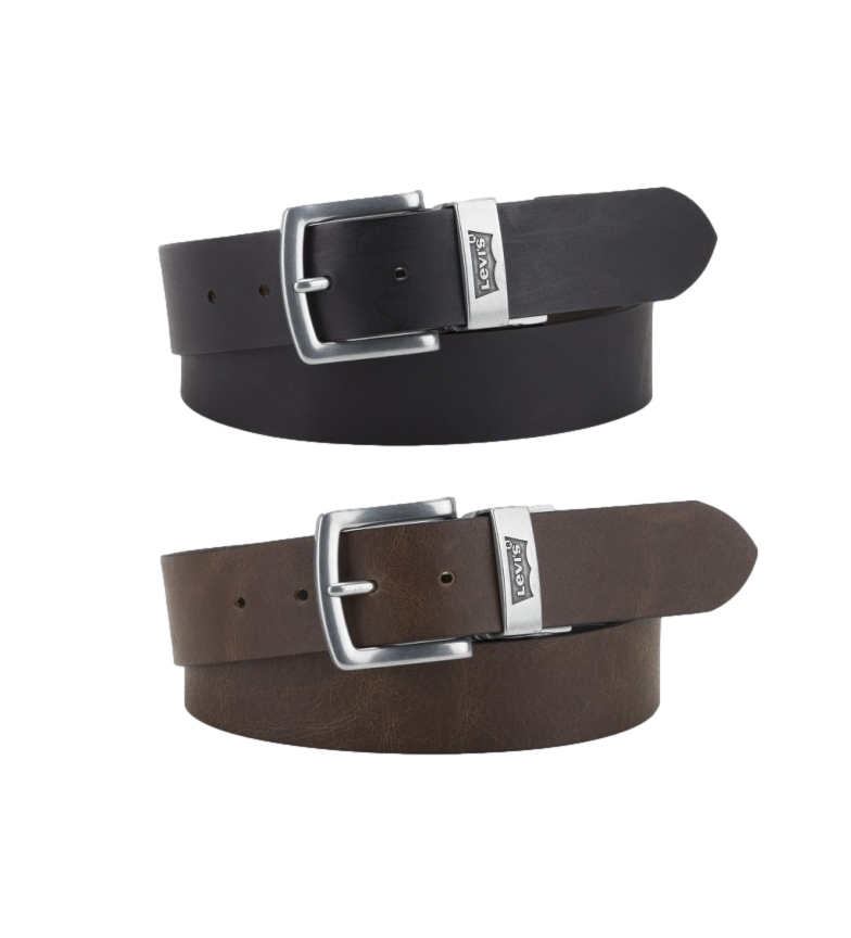 Comprar Levi's Cintura reversibile in pelle marrone Louie, nera
