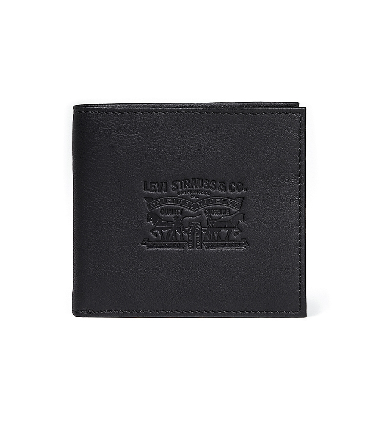 Levi's Portafoglio vintage in pelle nera Two Horse Bifold -10.5x11x5x2cm-