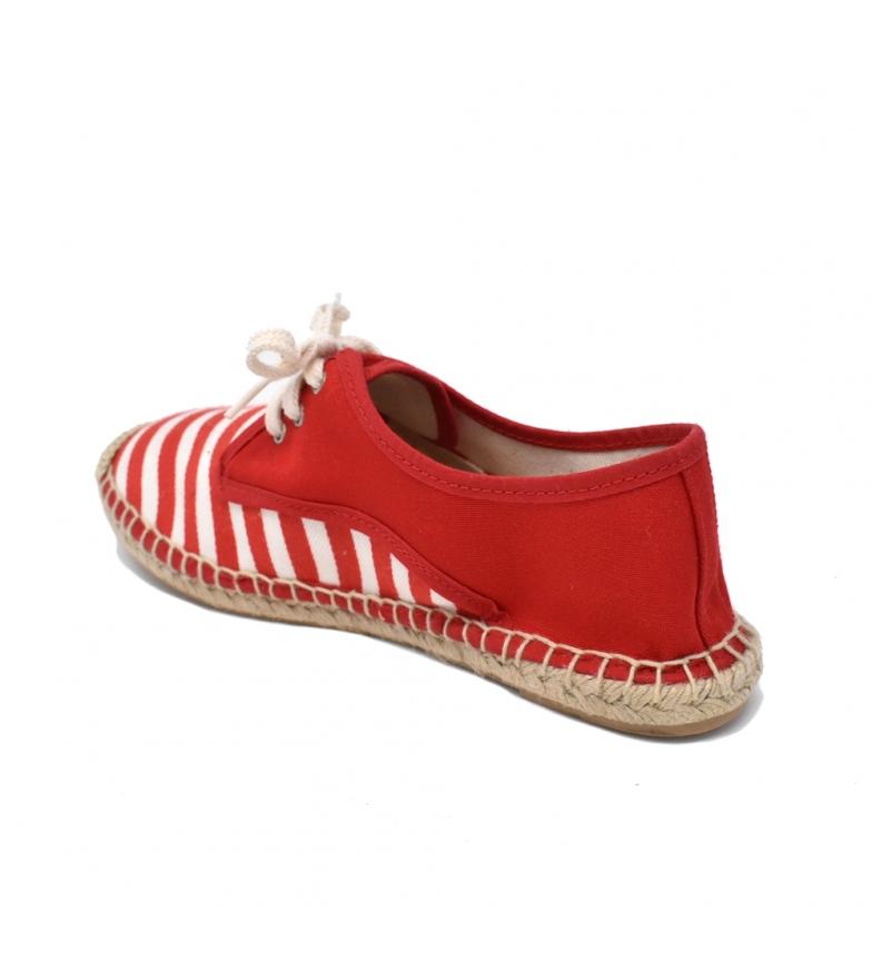 Liberitae Alpargata Cordones Textil Rayas Rojo