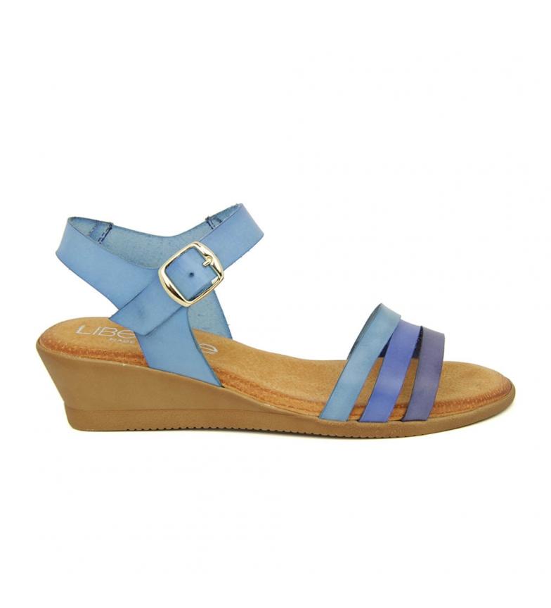 Liberitae Sandalia Minicuña En Piel Azul Marino