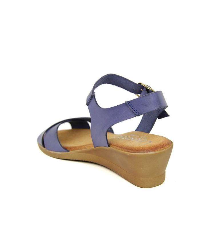 Liberitae Sandalia Liberitae Marino En Piel Minicuña Sandalia Azul 8xggRH4q