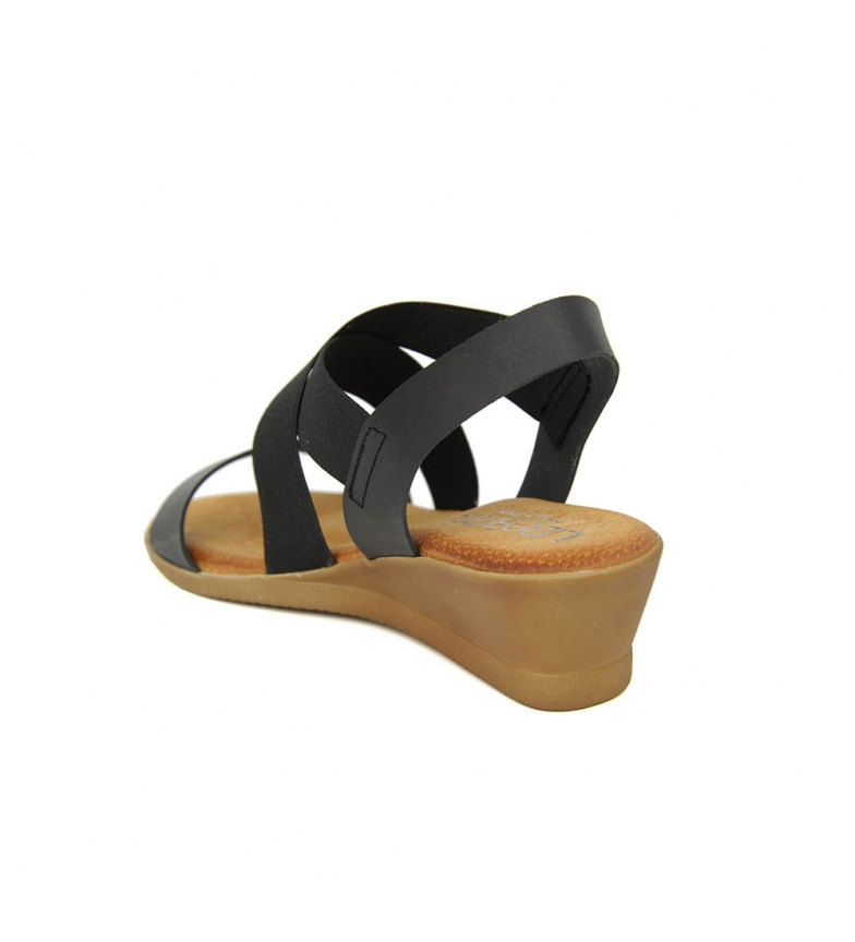 Minicuña Sandalia y Liberitae Piel Negro En Elastico T8Bqw