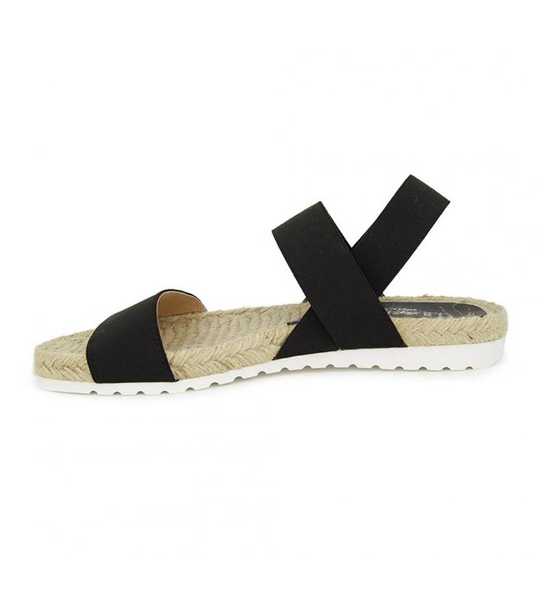 gratis frakt fabrikkutsalg Liberitae Tekstil Og Elastisk Flat Sandal Svart fabrikken pris kjøpe billig billig begrenset opplag Zux25