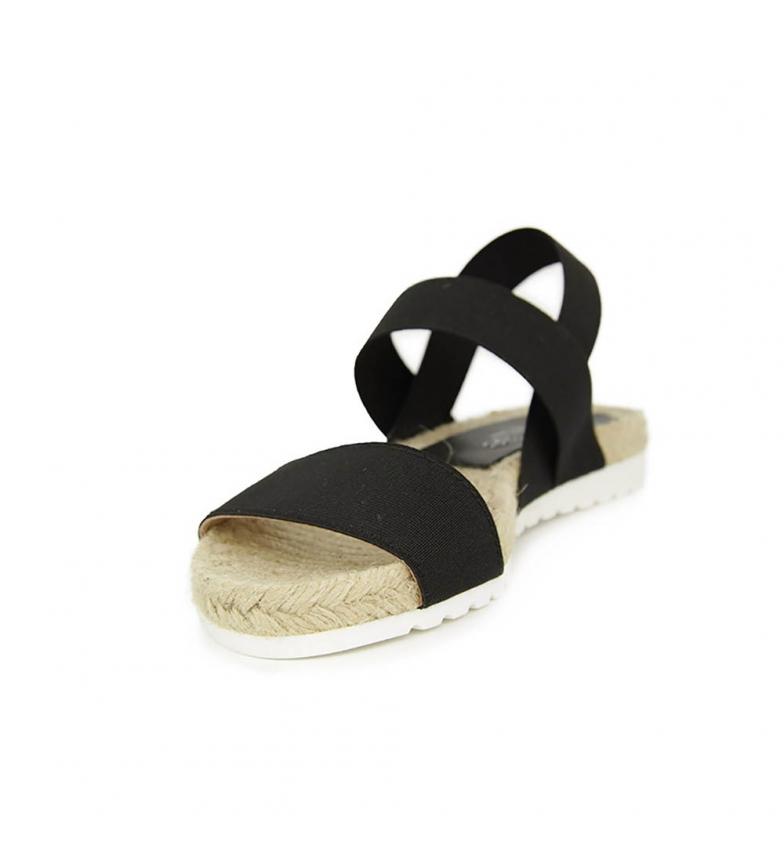 En Liberitae Liberitae Sandalia elasticos Textil y Negro plana Sandalia dI5OxaO