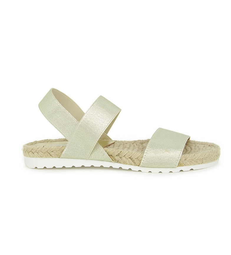 elasticos Oro Liberitae y En Textil Sandalia plana wn77qPXBS