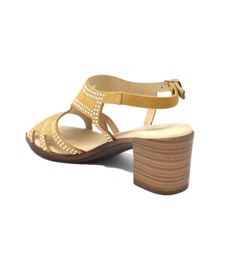 kjøpe billig nicekicks salg eksklusivt Liberitae Hæl Sandal Gul Serraje bla for salg klaring sneakernews dFvsbQTdQs