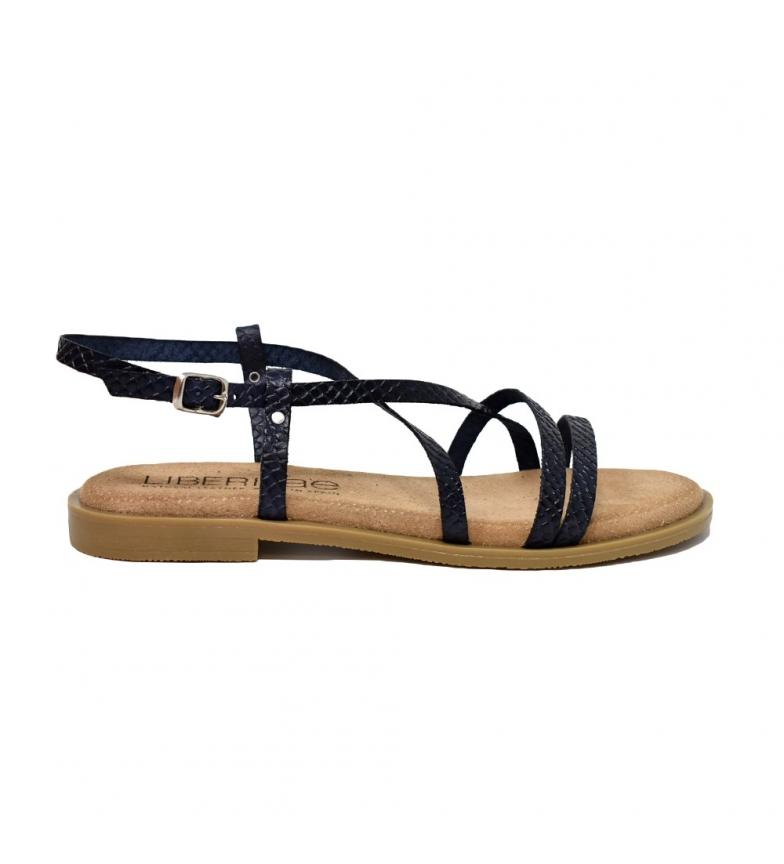 Comprar Liberitae Sandálias de couro Flat Navy