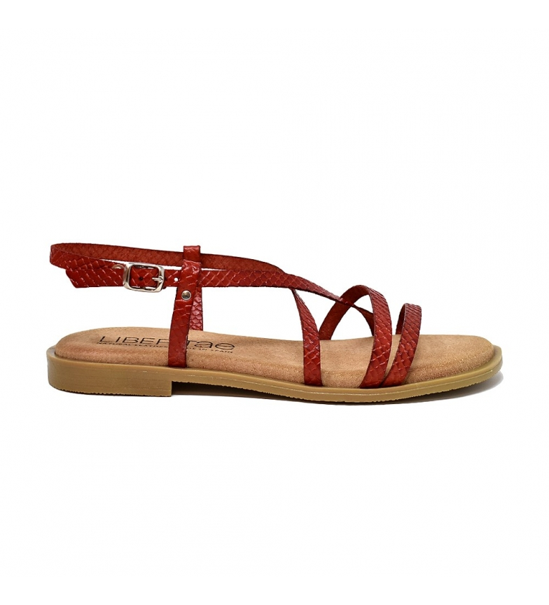 Comprar Liberitae Sandalia de piel plana rojo