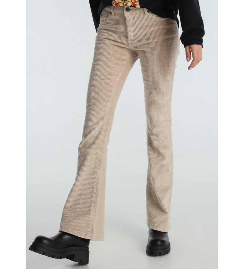 Lois Coty Flare-Barbol Pants Corduroy Thick Beige Color