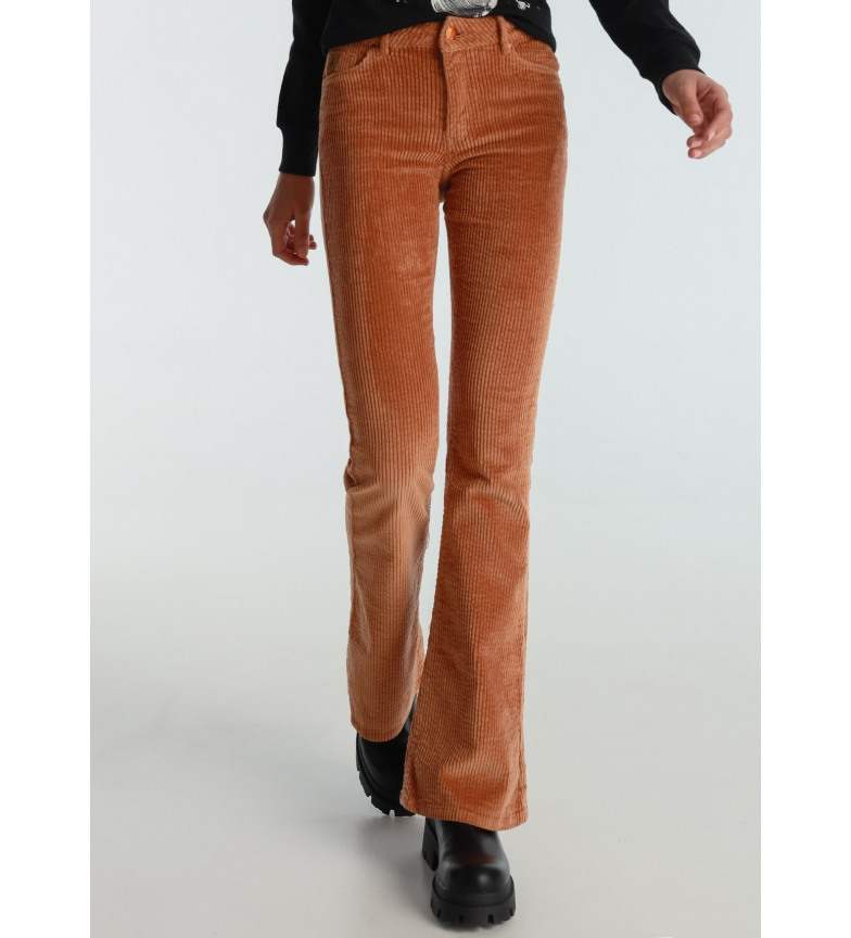 Lois Coty Flare-Barbol Pants Thick Corduroy Color brown