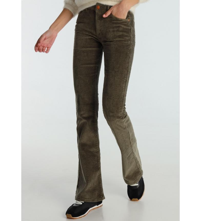 Lois Pants Coty Flare-Barbol Color Corduroy Thick khaki green