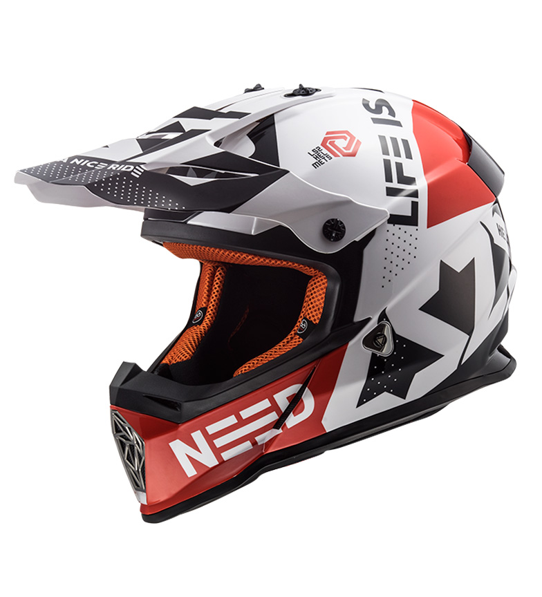 Comprar LS2 Helmets Motocross Fast helmet MX437 Block White Red
