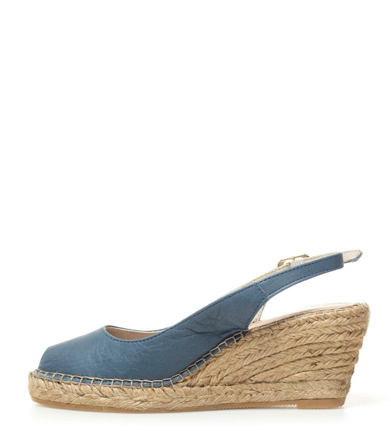 de cm cuña Macarena Ana4ve 7 Altura Sandalias piel azul SZwZf58q