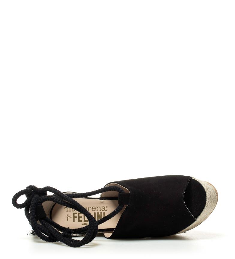Londrea piel de Sandalias 12 Macarena cuña 4 Altura 5cm negro 5qtEdw7d