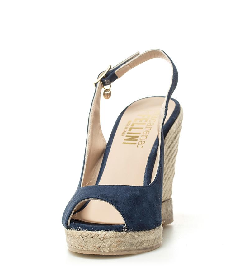 Altura Macarena Praga 09 Sandalias piel de 11cm azul cuña 4PSqg4pw