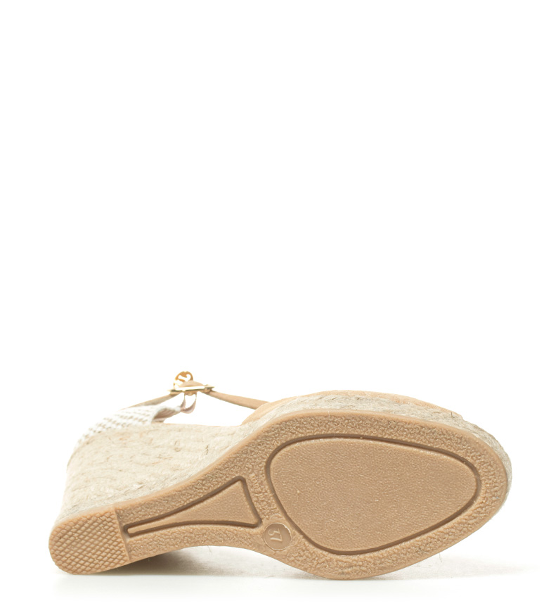 Macarena cuña 11 de Praga Sandalias piel 11cm Altura beige wqrxHw0ZA