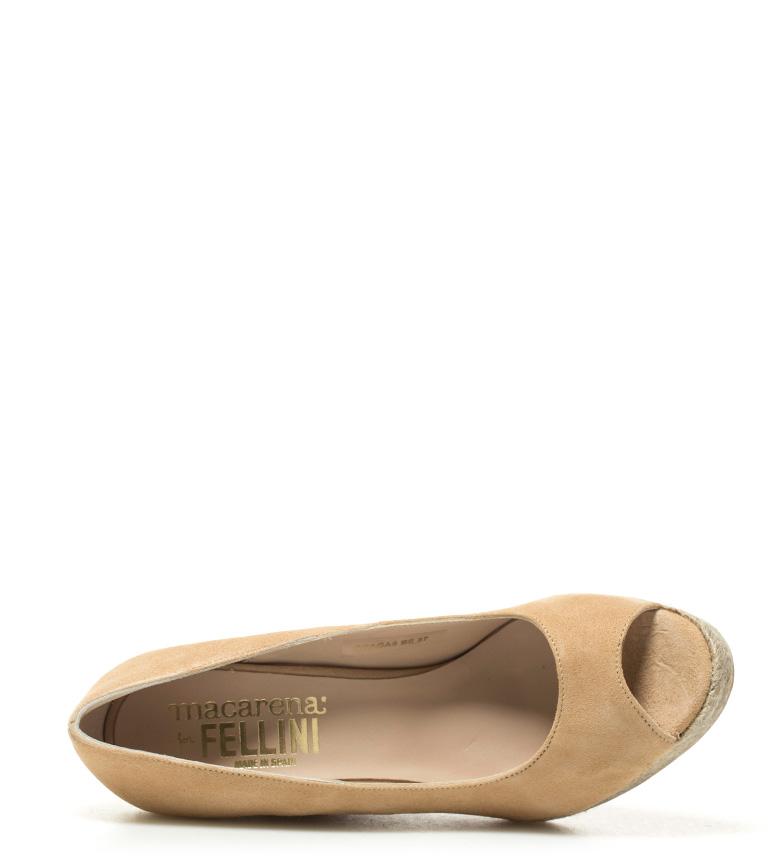 cuña Macarena 11cm de Zapatos Praga piel beige Altura 08 HH0Fqxvw