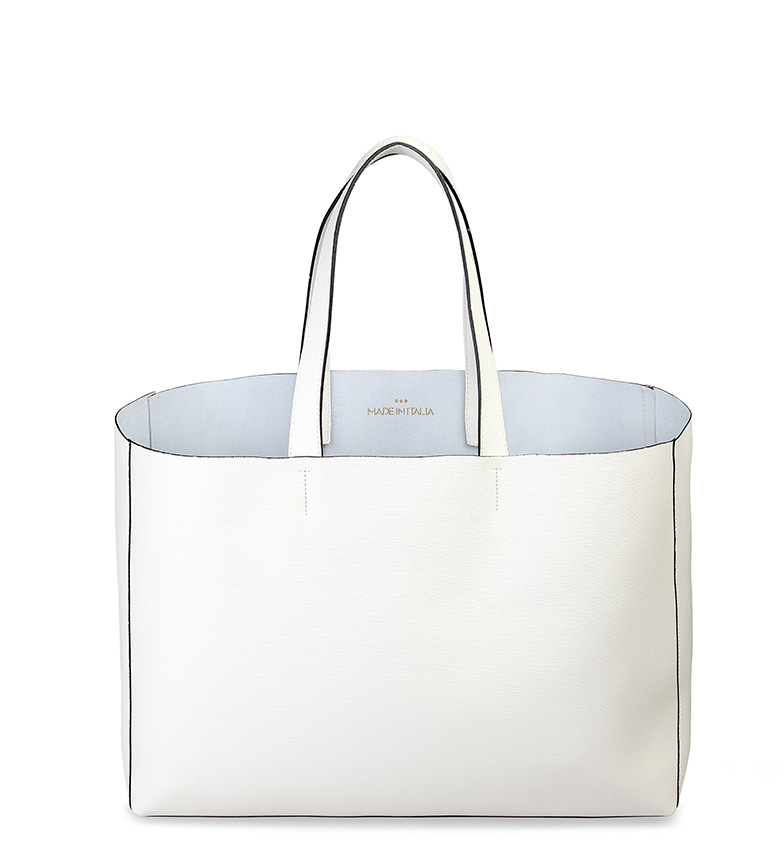 Comprar Made In Italia Shopping bag leather Lucrezia white -42x30x14 cm-