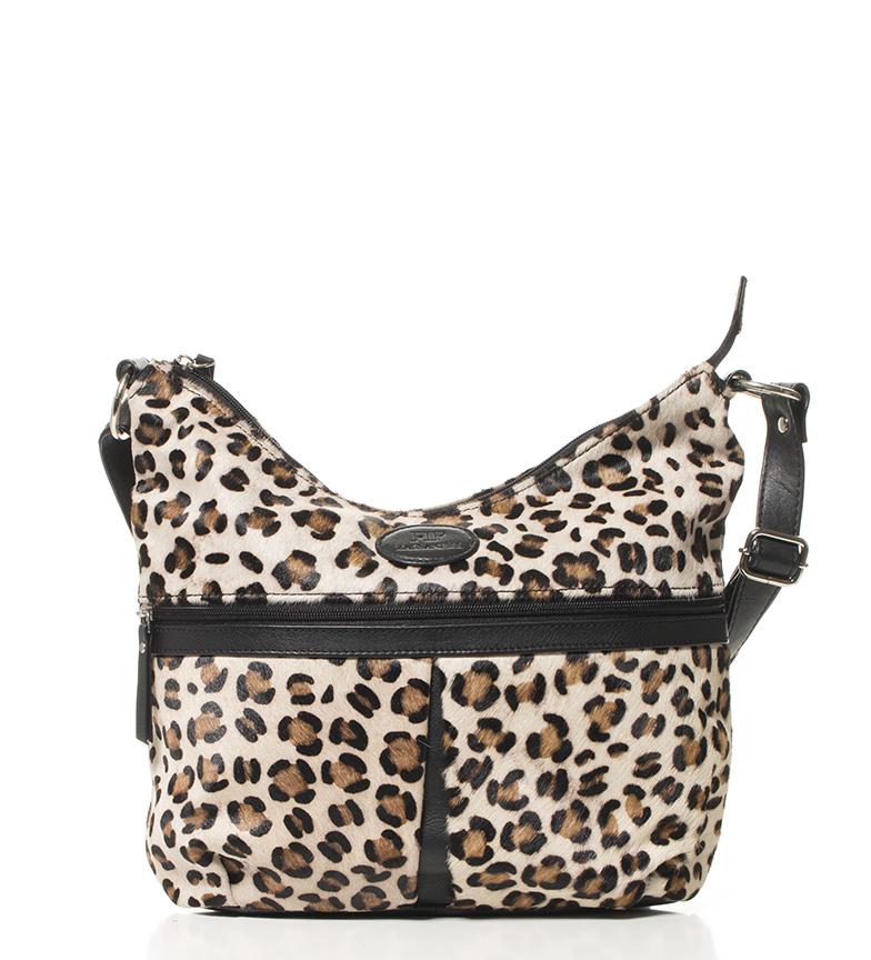 Comprar Marsan Piel Tracolla in pelle nera borsa leopardo -32x28x12cm-