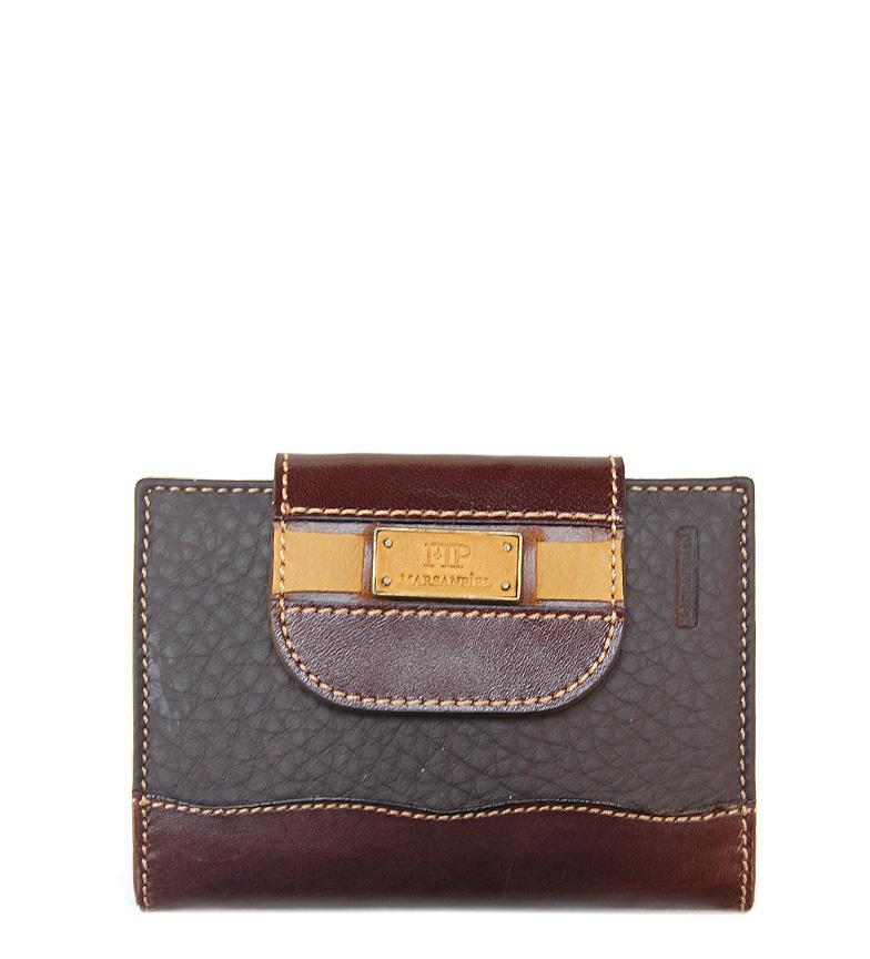 Comprar Marsan Piel Marrom ponte carteira de couro escuro-12,5x9,5cm-