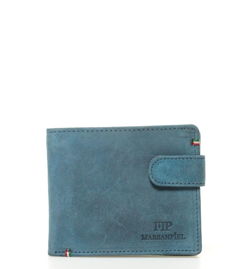 Comprar Marsan Piel -11x9x1,5cm- carteira de couro azul-americano