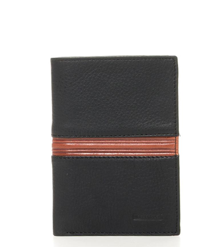 Comprar Marsan Piel Omega carteira de couro preta-9x12,5cm-