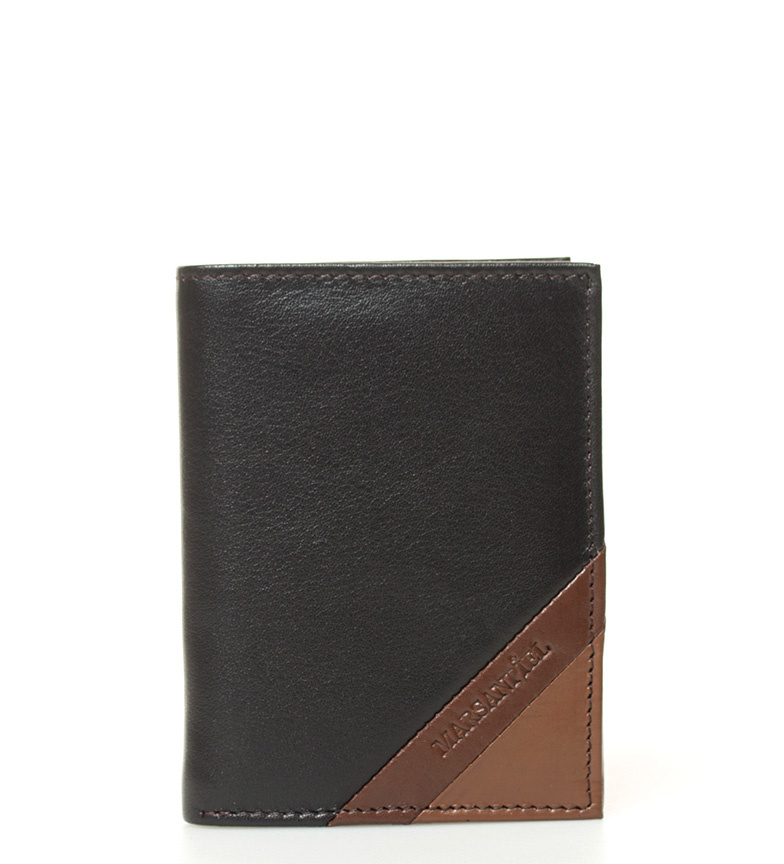 Comprar Marsan Piel Texas carteira de couro preta, marrom -11x8x1cm-