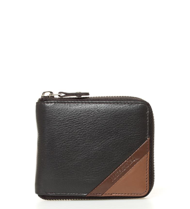 Comprar Marsan Piel Texas carteira de couro preta, marrom -11x9x1,5cm-
