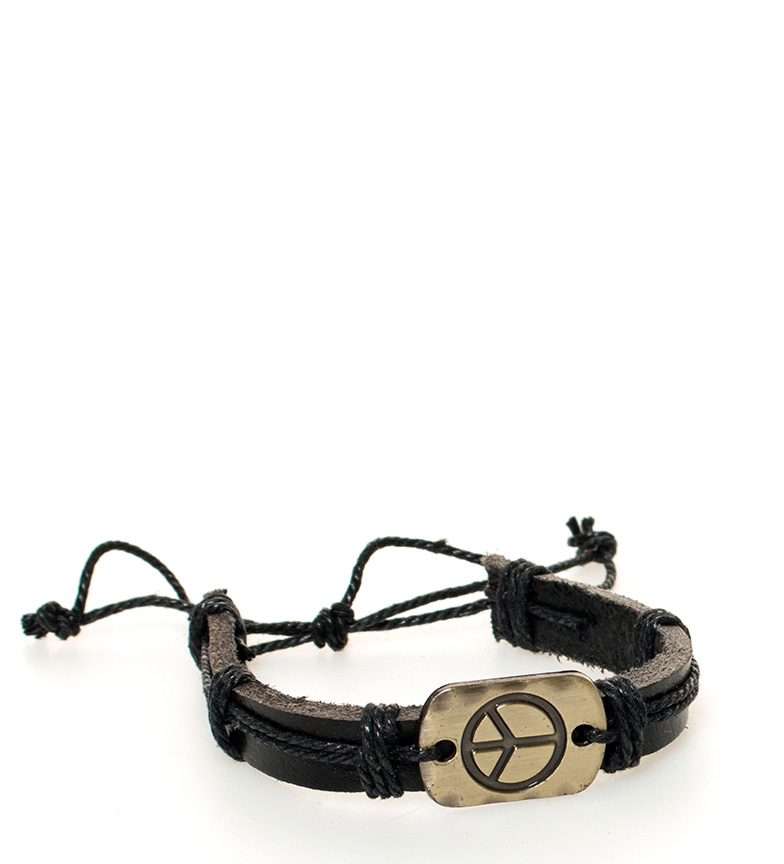 Comprar Marsan Piel Leather bracelet Peace black