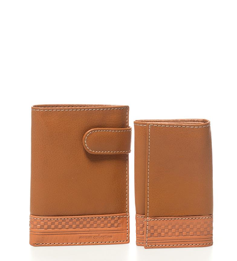 Comprar Marsan Piel Conjunto de carteira de couro + chaveiro Cuadra couro-9x12,5cm / 7x11cm-