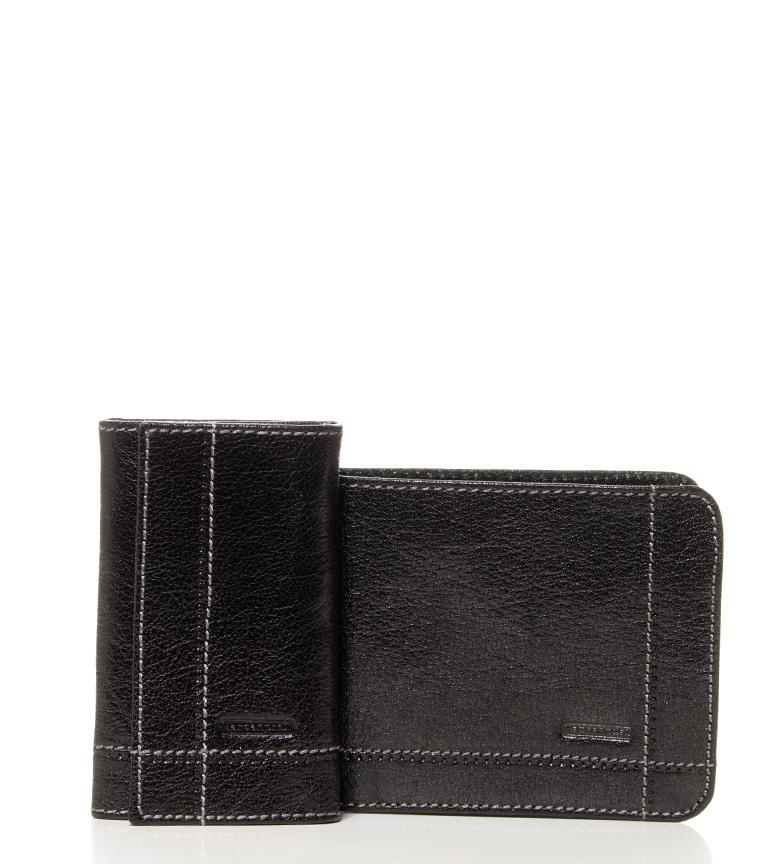 Comprar Marsan Piel Definir chave de couro preto carteira + Kabu -12,5x9,5cm / 7x11cm-