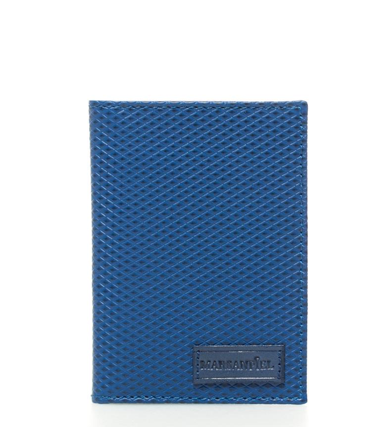 Comprar Marsan Piel Kasabian titular do cartão de couro azul losango -8x11cm-