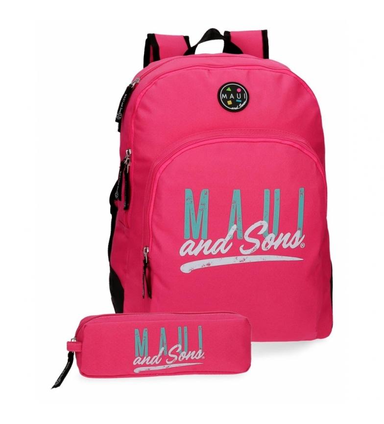 Comprar Maui and Sons Mochila adaptável ao carrinho + mochila da escola Fúcsia havaiana -33x44x13.5cm