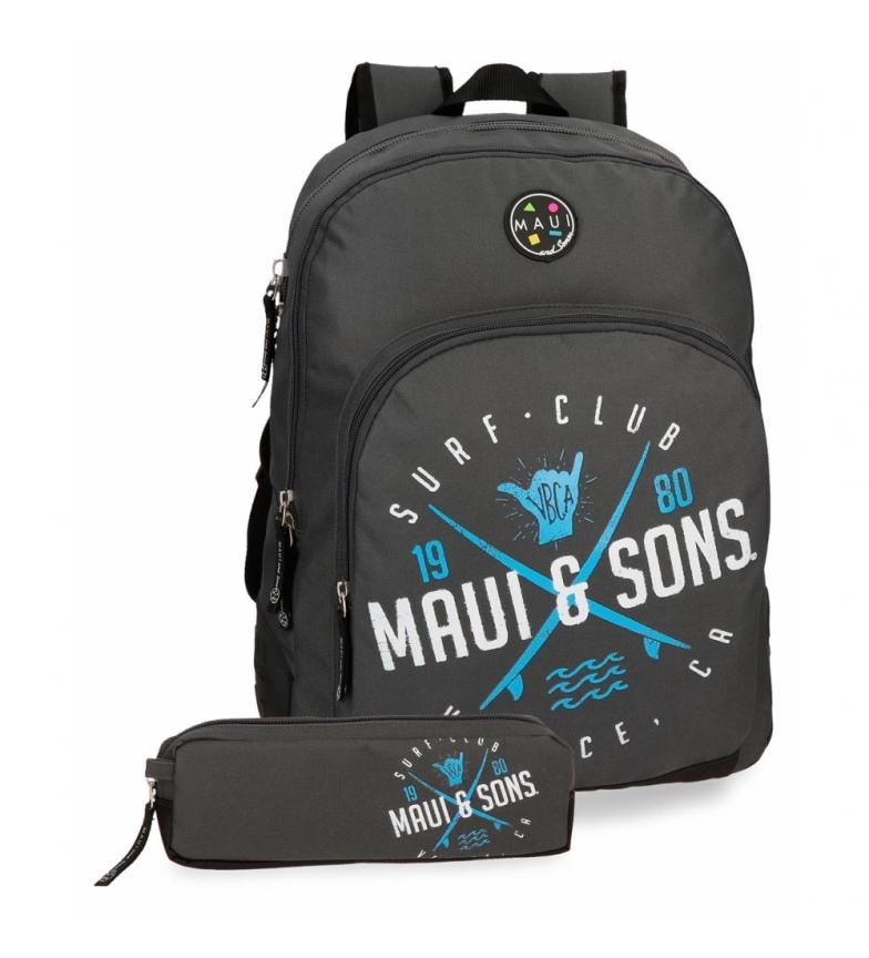 Comprar Maui and Sons Backpack adaptable to trolley + school case Shaka grey -33x44x13.5cm