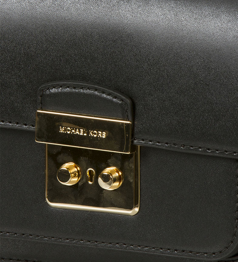 Michael-Kors-Sac-en-cuir-Sloannegro-22-9x16-5x6-4cm-Femme-Noir-Marron-Casuel miniature 4