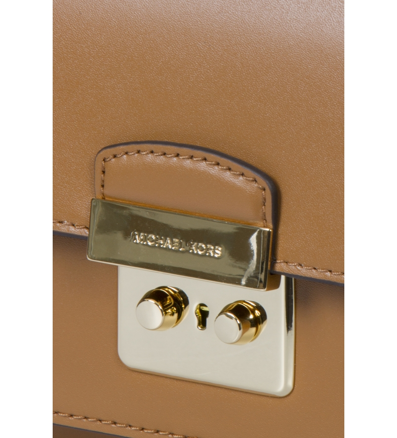 Michael-Kors-Sac-en-cuir-Sloannegro-22-9x16-5x6-4cm-Femme-Noir-Marron-Casuel miniature 7