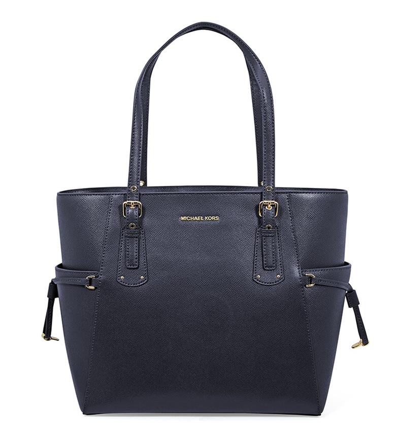 Comprar Michael Kors Tote Voyager saco de couro marinho -37,5x27,9x15,9cm
