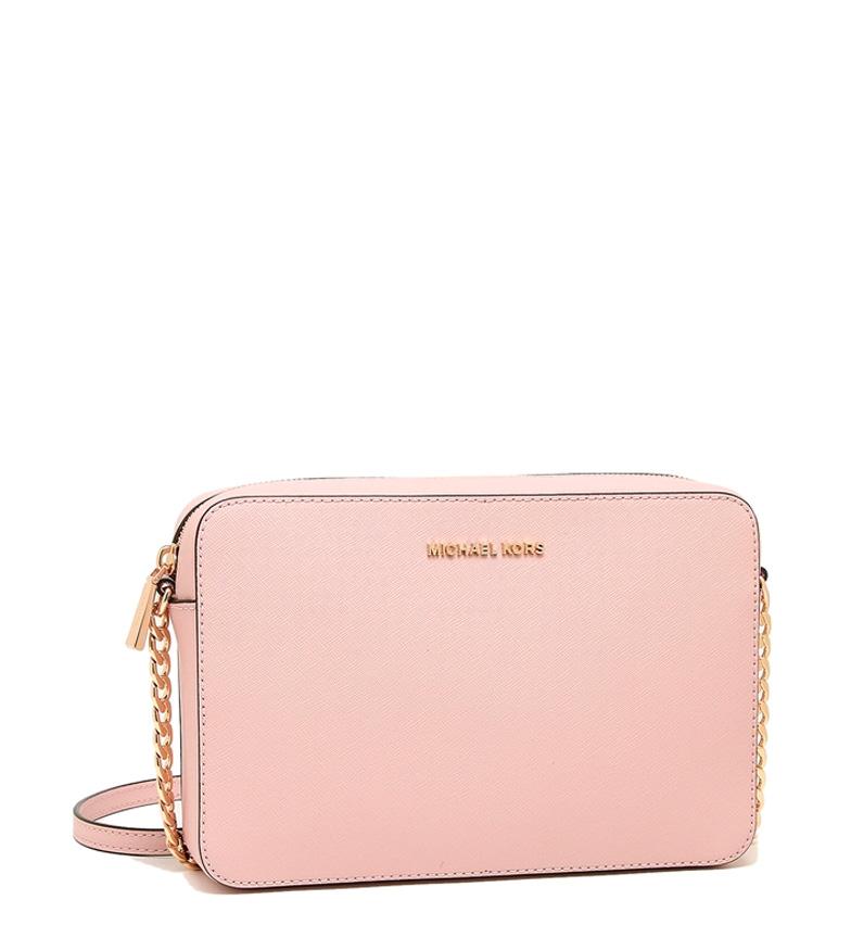 Comprar Michael Kors Saffiano leather shoulder bag Jet Set large -22,9x10,2x1,9cm- pink