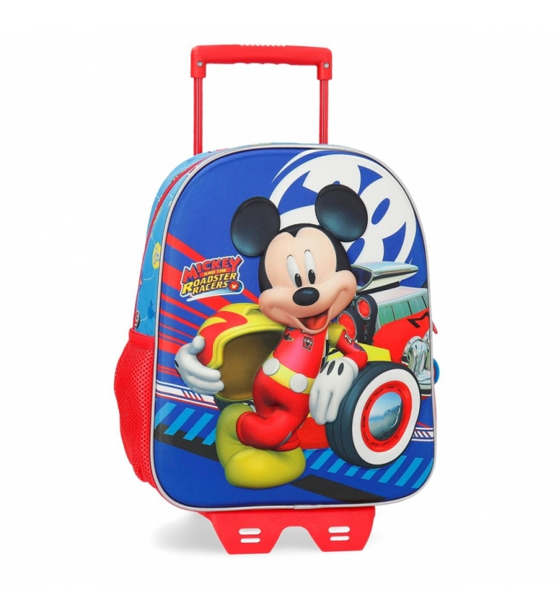 Comprar Mickey Mochila 33cm frontal 3D con carro World Mickey -27x33x11cm-