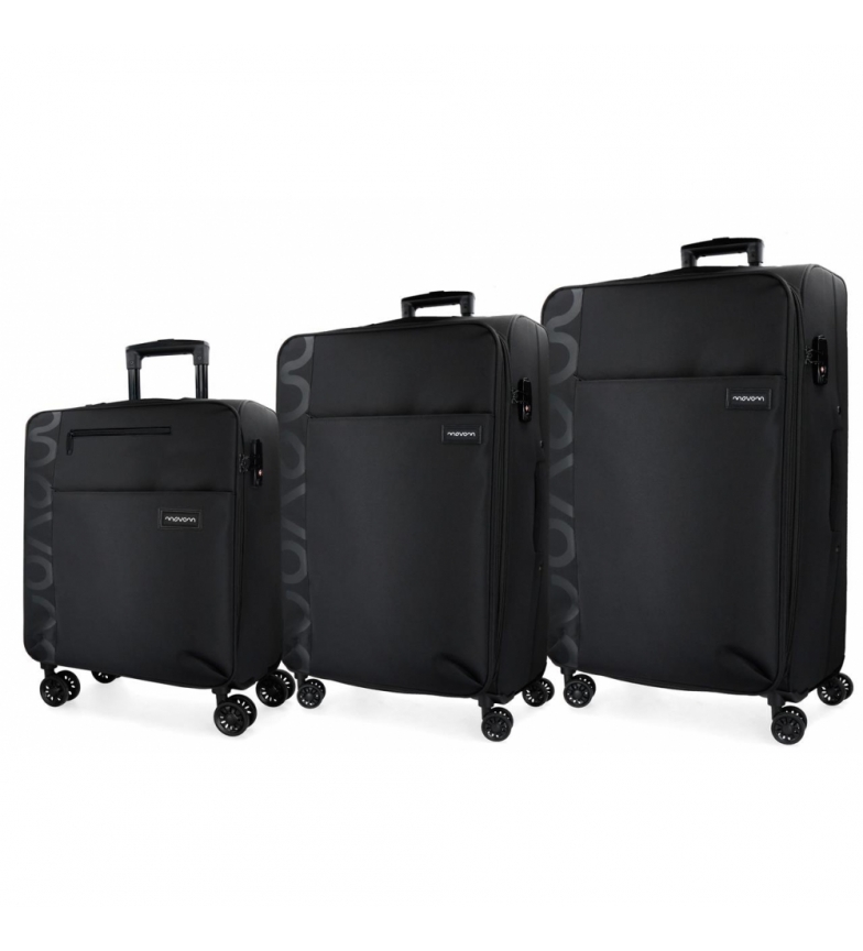 Comprar Movom Set of 3 suitcases 36L, 65L and 98L Movom Oslo black -55x40x20cm/69x44x26cm/79x49x30cm