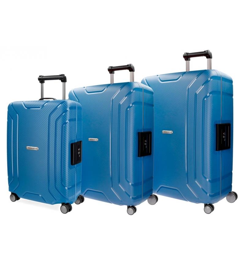 Comprar Movom Movom bagagem conjunto rígido Newport Azul 55-65-75cm