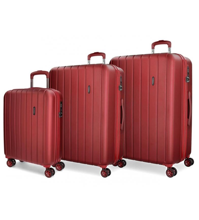 Comprar Movom Juego de maletas Movom Wood rígido Rojo -40x55x20cm / 45x65x28cm / 52x75x33cm-